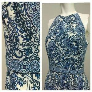 Maggy London Paisley Print Halter Dress